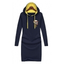 Fashion Contrast Hooded Long Sleeve Embroidery Letter Pattern Midi Sweatshirt Dress
