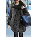 Chic Knitted High Neck Patchwork Zipper Placket Long Sleeve Asymmetric Hem Tunic Coat