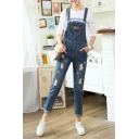 Fashion Ripped High Waist Skinny Denim Overalls