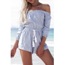 Women's Sexy Off the Shoulder Striped Drawstring Waist Beach Rompers