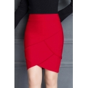 Women's Chic Plain Ruffle OL Mini Bodycon Skirt