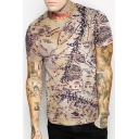 Unisex Retro Style Map 3D Printed Round Neck Short Sleeve Tee Top