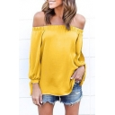 Sexy Off the Shoulder Split Long Sleeve Plain Blouse Top