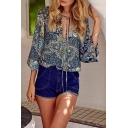 Women's Fashion Floral Tribal Print V-Neck 3/4 Sleeve Boho Style Blouse