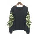New Stylish Embellished with Peacock Feather in Sleeve Pullover Sweatshirt