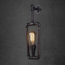 Industrial Black Iron 1-Lt Wall Light Classic Sconces in Rectangle Shape