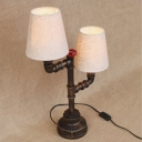 Vintage Rustic 2-Light Pipe Designed Table Lamp with Beige Fabric Shade