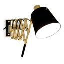 Retro Style Black Finish Gold Scissor Extendable Wall Lamp with Empire Shade