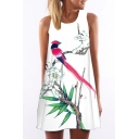 Women's Round Neck Sleeveless Digital Printed Tank Top Mini Dress