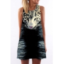 Women's Round Neck Sleeveless Digital Leopard Printed Tank Top Mini Dress