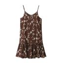 New Style Floral Print Fishtail Hem Casual Spaghetti Straps Maxi Slip Dress