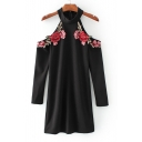 Women's Fashion Halter Cold Shoulder Long Sleeve Floral Embroidery Shift Mini Dress