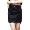 Women's Office Plain Basic Mini Skirt with Belt