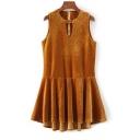 Trendy Plain Cutout V-Neck Sleeveless Zip Back Pleated Dress