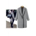 Notched Lapel Single Button Long Sleeve Plain Tunic Coat
