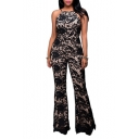 Women's Sexy Hatler High Waist Wide Leg Jumpsuits Rompers Pants