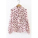Cute Contrast Cat Printed Lapel Single Breasted Lantern Long Sleeve Tied Neck Button Down Shirt