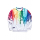 Unisex Fashion Colorful Printed Color Block Pullover Sweatshirt