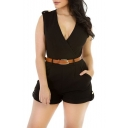 Women'Sexy Sleeveless Plunge V Neck Belted Short Jumpsuit Rompers