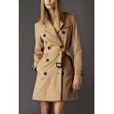 Chic Double Breasted Notched Lapel Belt Waist Long Sleeve Plain Tunic Coat