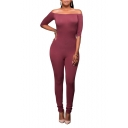 Sexy Off the Shoulder Half Sleeve Plain Bodycon Jumpsuits
