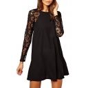 Round Neck Lace Insert Long Sleeve Dress in Button Details