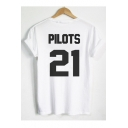 PILOTS 21 Letter Number Printed Short Sleeve Round Neck Tee Top