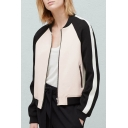 New Stylish Contrast Raglan Long Sleeve Stand-Up Collar Zipper Placket Color Block Bomber Jacket