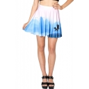 Beautiful Landscape Print High Waist Pleated Mini Skirt