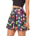 Christmas Light Print High Waist Pleated Mini Skirt