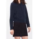 Women's Stand-Up Collar Zipper Placket Long Sleeve Plain Coat