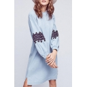 Casual Round Neck Embroidery Pattern Button Cuffs Long Sleeve Midi Dress