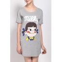 Women's Cute Cartoon Print Round Neck Short Sleeve Basic Mini T-Shirt Dress