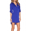 Women's Chic Lapel Collar Long Sleeve BF Style Casual Loose Dipped Hem Shirt Dress