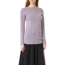 New Stylish Ripped Cutout Split Tied Side Long Sleeve Plain Sweater