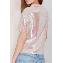 New Stylish Sequined Short Sleeve Round Neck Tee