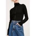 Leisure High Neck Zipper Placket Long Sleeve Plain Knitted Zip Up Sweatshirt