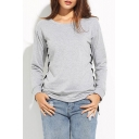 Women's Raglan Sleeve Round Neck Casual Plain Sports Sweatshirt with Side Lace-Up