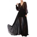 Sexy Women's Sheer V-Neck Lantern Long Sleeve Polka Dots Chiffon Mesh Maxi Dress
