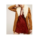 Women's New Style Retro Single Breasted Long Sleeve Fur Collar Corduroy Outwear Coat