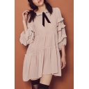 Women's Ruffle Layered 3/4 Length Sleeve  Mini Line Dress