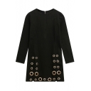 Basic Round Neck Long Sleeve Zip Back Metal Ring Plain Shift Dress