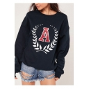 Women's Round Neck Letter A Print Long Sleeve Casual Basic Sports Sweatshirt