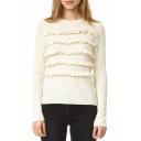 Chic Slim Ruffle Front Long Sleeve Round Neck Plain Sweater