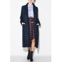 Women's Notched Lapel Double Breasted Long Sleeve Plain Tunic Coat with Two Vertical Pockets