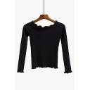 Sexy Off the Shoulder Raglan Long Sleeve Plain Cropped Sweater