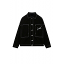 Plain Single Breasted Lapel Embroidery Letter Black Denim Jacket in Seamed Detail