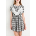 Spring Lace Patchwork Plaid Short Sleeve Elastic Waist Mini A-Line Dress