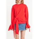 New Stylish Ruffle Cuffs Long Sleeve Plain Pullover Sweatshirt with Twisted Knots
