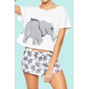 Cute Elephant Printed Round Neck Short Sleeve Cropped Tee Top